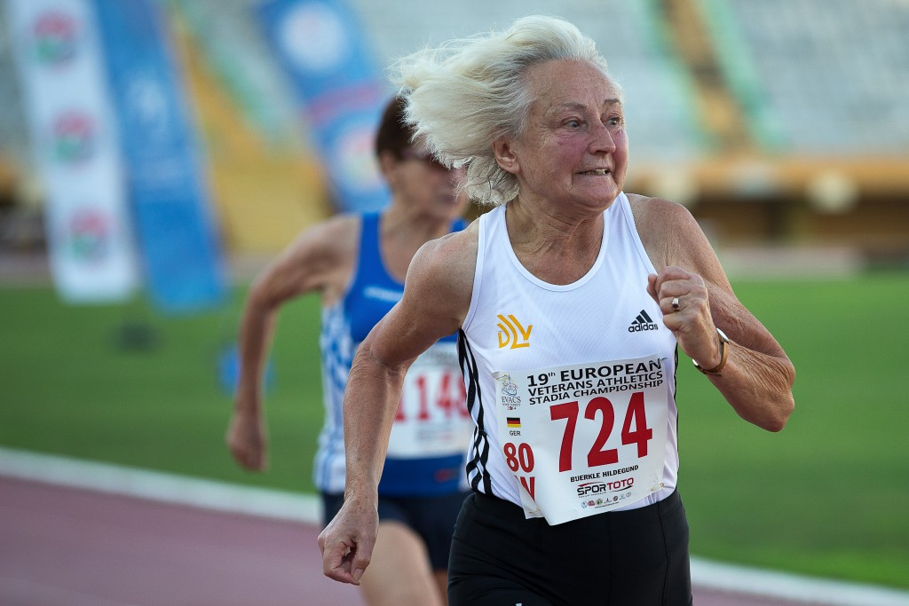 old woman running