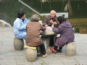 Chinese seniors playing cards