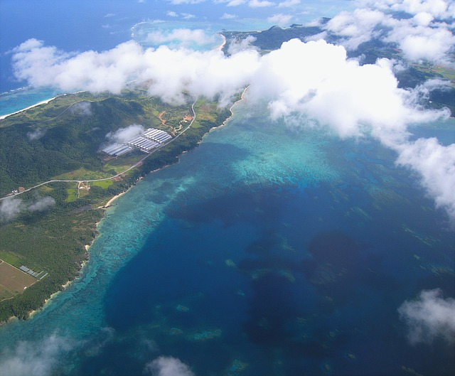 Aerial view of Okinawa, Japan