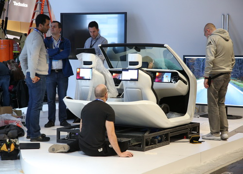Exhibitors setting up automotive displays for CES 2016 at the LVCC