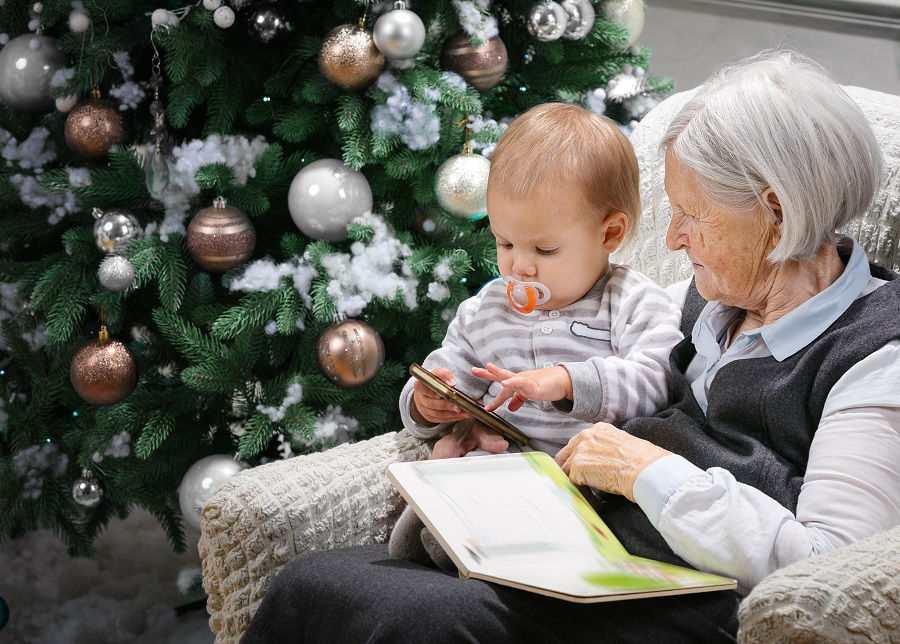 elderly and baby - christmas time