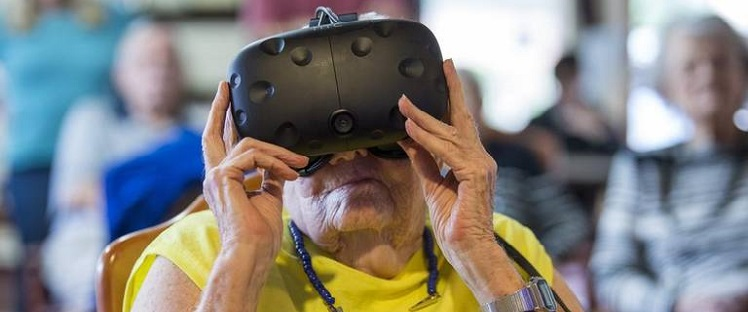 Virtual reality brings roller coasters and exotic travel to assisted living